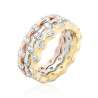 Delinda Tri-tone Stackable Round Cut Ring Set | 6ct |18k Gold | Rose Gold | Cubic Zirconia