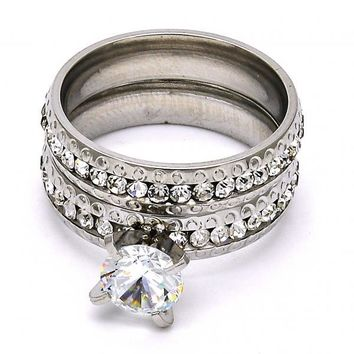 Stainless Steel Wedding Ring, with Crystal, Steel Tone
