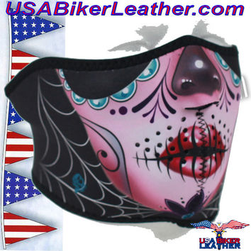 Half Mask Made of Neoprene Sugar Skull Design / SKU USA-FMS11-WNFM082H