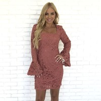Dancing In The Moonlight Mauve Crochet Dress