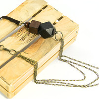 Black wooden chunky necklace Long boho polyhedron necklace Leather and wood bohemian jewelry