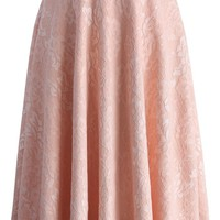 Romance Awaits Pink Lace Midi Skirt