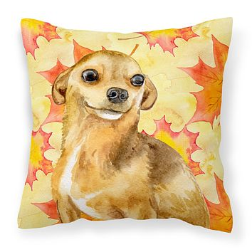 Chihuahua Fall Fabric Decorative Pillow BB9919PW1818
