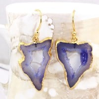 H3276 Winter Sale Natural Blue Geode Slice Druzy Gold Plated Earring Jewelry