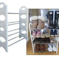 Evelots 4 Tier Stackable Adjustable Shoe Rack Home Closet Family