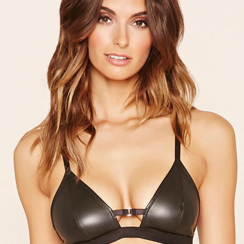 Faux Leather Bralette