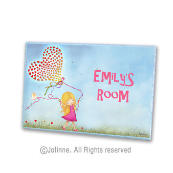 Personalized children door sign , kids room , nursery decor, customized name , girl with hearts balloon