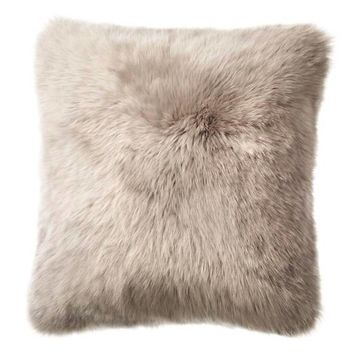 Linen Longwool Combed Sheepskin Decorative Pillow - Pearl Grey