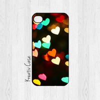 iPhone 6, iPhone 5 case, iPhone 5S case - Rainbow Hearts / Bokeh Effect