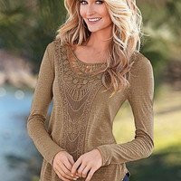 Camel Crochet Lace Panel Round Neck Long Sleeve Fit T-Shirt for Women