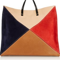 Clare V - Simple color-block leather and suede tote