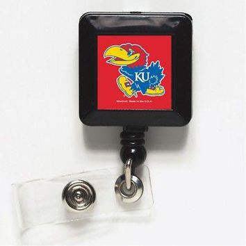 "Licensed Kansas Jayhawks NCAA 1"" x 1"" Retractable Badge Holder Key Chain KU Wincraft KO_19_1"