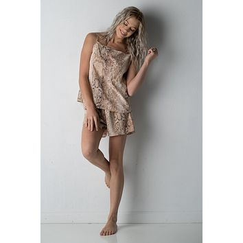 Brown Snake Skin Print Pajama Set