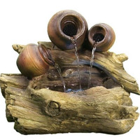 Electric Tree Trunk Pitchers Water Fountain w/ LED Light