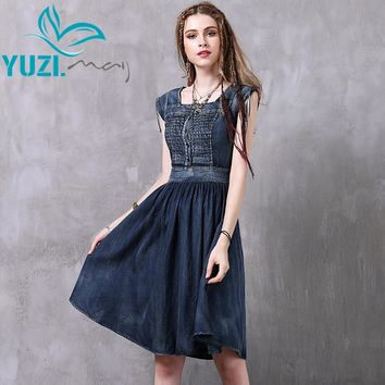 Summer Dress 2017 Yuzi.may Boho New Denim Vestidos Square Collar Sleeveless A-Line Washed Women Dresses A8225 Vestido Feminino