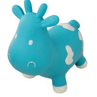 Inflatable bouncy cow - blue