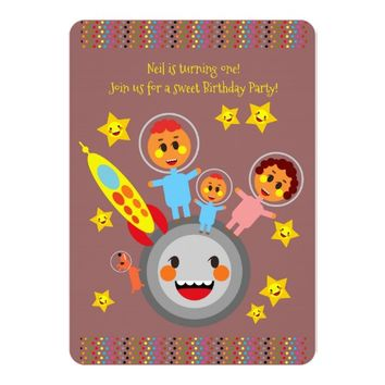 Going to the moon first birthday party invitation