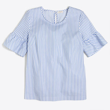 Ruffle-sleeve striped top