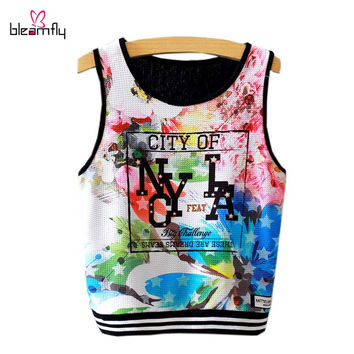 Harajuku Printed Sport Top Fitness Women Sexy Woman's Short Vest Beach Casual Tank Top Plus Size Women Clothing Sexy camiseta