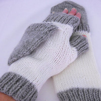 White and grey 100% wool convertible gloves - fingerless gloves - texting mittens - fingerless mittens - convertible mittens - wool gloves