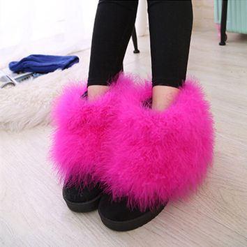 Women Winter Boots Round Toe Short Suede Feather Furry Fur Flat Heel Boots Ultralarge Scrub Boots Size 5-9 Hot pink