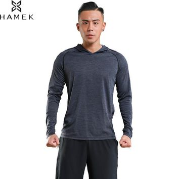 Mens Breathable Sports Running Hoodie Long Sleeves Basketball Training Shirts Male Cool Quick Dry Workout T-shirts Absorb Sweat