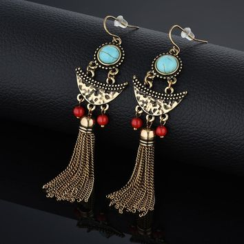 Fringe Long Chain Tassel Drop Chandelier Dangle Earrings