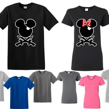 Mickey Minnie Pirate His Her Couple Matching Love Set Men Women T-shirt