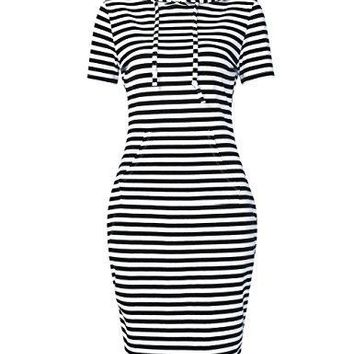 Womens  Short Sleeve Pullover Stripe Keen Length Slim Hoodie Dress with Kangaroo Pocket for Causal for Autumn Summer, White, Large