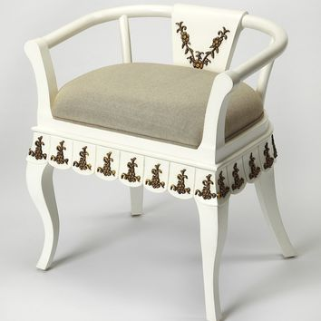 Butler Linor White & Gold Vanity Chair