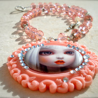 LolitaA crystal necklace with a beautiful by ericosmicgirl on Etsy