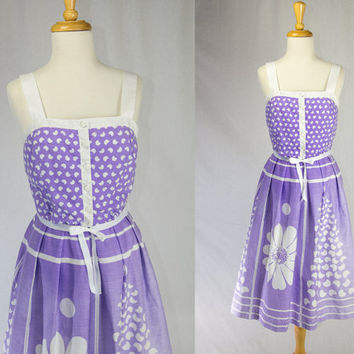 Vintage 70's Purple Sun Dress Convertible Straps  by Jenni SPRING SALE!