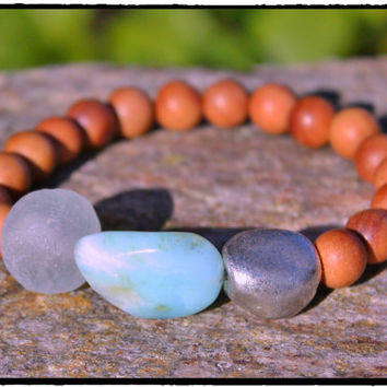 Peruvian Opal with Silver Plated Nugget, Recycled African Glass & Sandalwood....YUMMY, Bohemian, Mixed Media, Yoga Inspirational Surf Chic