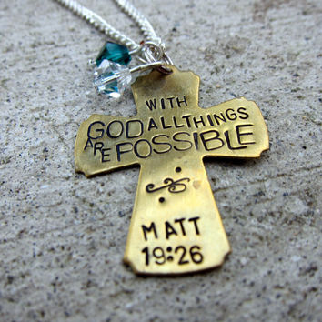 Bible Verse Necklace Matt 19: 26 With God all things are possible - Hand Stamped - Made to Order