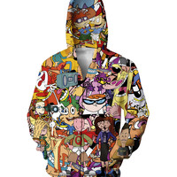 Totally 90s Zip-Up Hoodies Rugrats Hey Arnold Animaniacs Johnny Bravo Angry Beavers Dexter Powerpuff Girls Women Men Sweatshirts