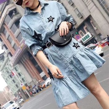 """Givenchy"" Women Fashion Five-pointed Star Middle Sleeve Irregular Frills Lapel Shirt Denim Dress Waist Bag Set Two-Piece"