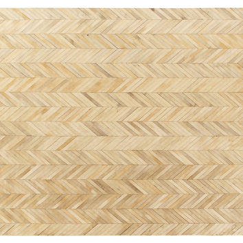 Stitched Herringbone Hide Rug, Ivory, Area Rugs