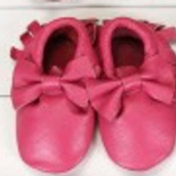 Pink Leather Bow Moccasin