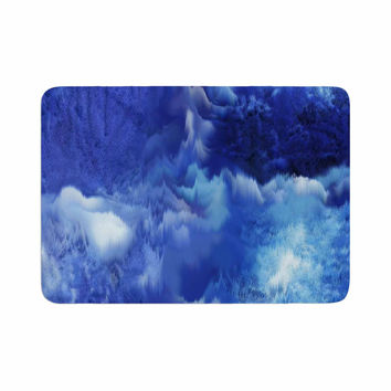 "Nina May ""Saltwater Collage"" Blue Memory Foam Bath Mat"