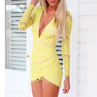 Lace Long Sleeve Mini Dress