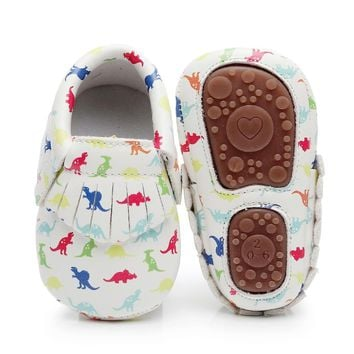 PU Leather Baby Moccasins Hard Sole for Baby Girls Boys Dinosaur Printing Infant Toddler Unicorn Crib First Walker Shoes 0-4Y