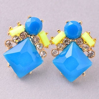 Pop Star Bright Stone Statement Stud Earrings - Blue
