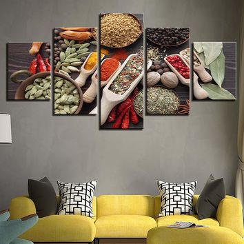 5 Pieces Spoon Grains Spices Food Canvas Painting Kitchen Cooking Wall Art Modular Pictures Framework Home Decor HD Print Poster