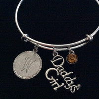 Custom November Daddy's Girl Bracelet with Initial Silver Expandable Adjustable Wire Bangle Charm Bracelet Trendy Kid's Size Available