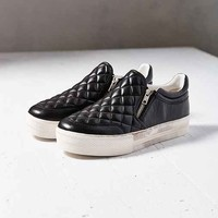 Ash Jodie Quilted Zip Slip-On Sneaker- Black