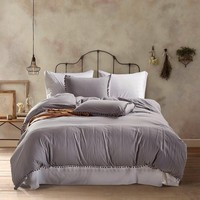 Soft Pom Fringe Bedding Set Solid Color Duvet Cover Set Bed Cover and Pillow Sham with Tassels Fluffies Fringe Double Queen King