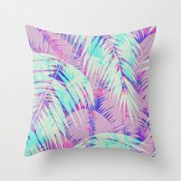 Maui Palm {Pink A} Throw Pillow by Schatzi Brown