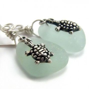Genuine Sea Glass Sterling Silver Turtle Charm Earrings Sea Foam Green