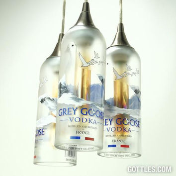 Upcycled Grey Goose Vodka Pendant Lamp