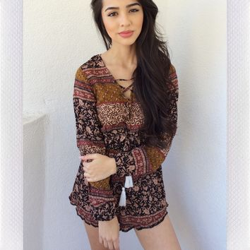{REVERSE OFFICIAL} Tassel Tease Playsuit- Brown Print